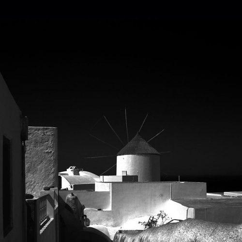 Art print Santorini Windmill