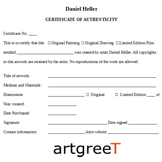 Artists use certificate of authenticity COA to authenticate their work